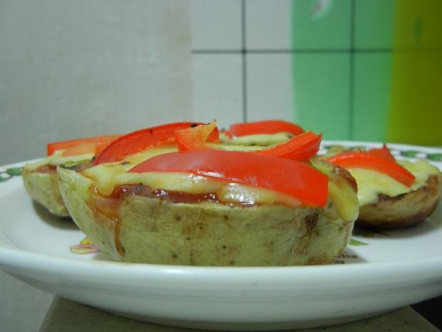 Potato Skins Pizza AND Bread Pudding 020