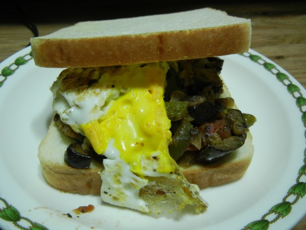 Ratatouille Egg Sandwich AND Chocolate Granola 006